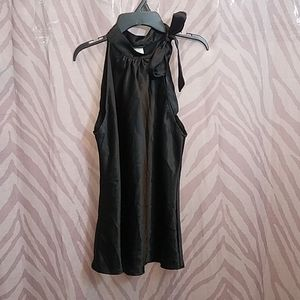 Maurices Black Sleeveless Tie at Neck Top szMed